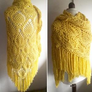 crochet sidewalk shawl knit craft plain cotton blend