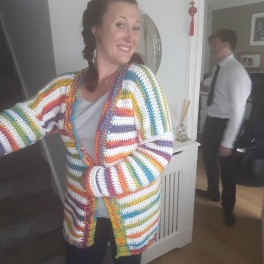 My rainbow crochet cardigan, no pattern. I LOVE wearing this and get a lot of compliments when I'm out, which I'm always surprised at as it's quite loud!